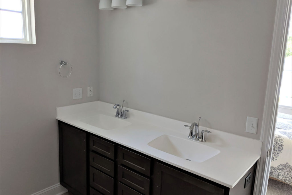 photo of double sinks in bathroom
