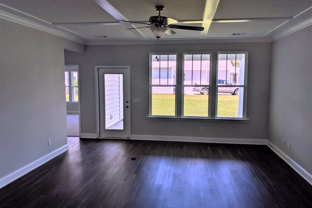 spacious room with windows